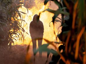 Priya Sharma, played by Fiona Wade, heading into the maze which has caught fire