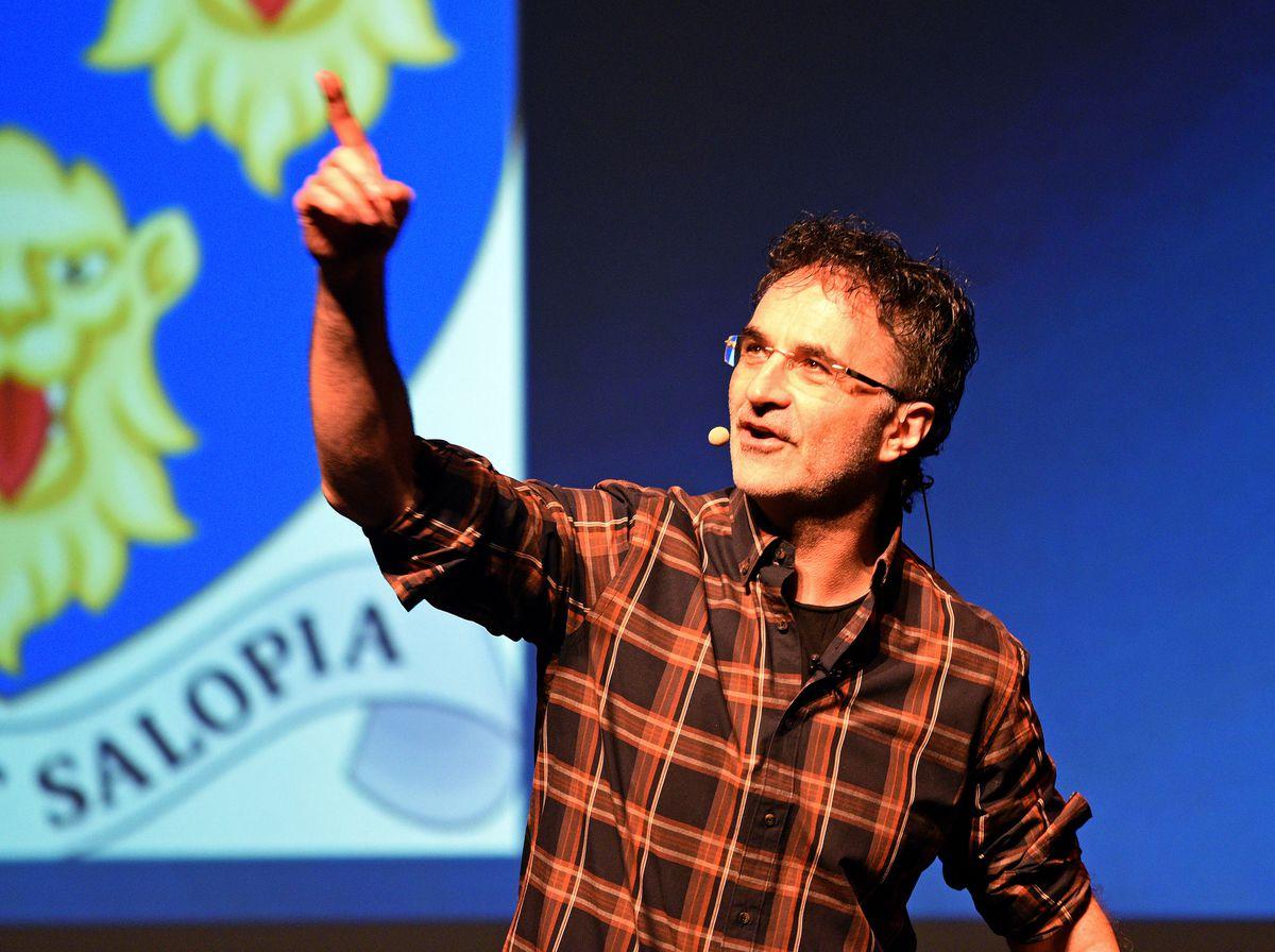 Supervet Professor Noel Fitzpatrick entertains the crowd at Theatre Severn, Shrewsbury