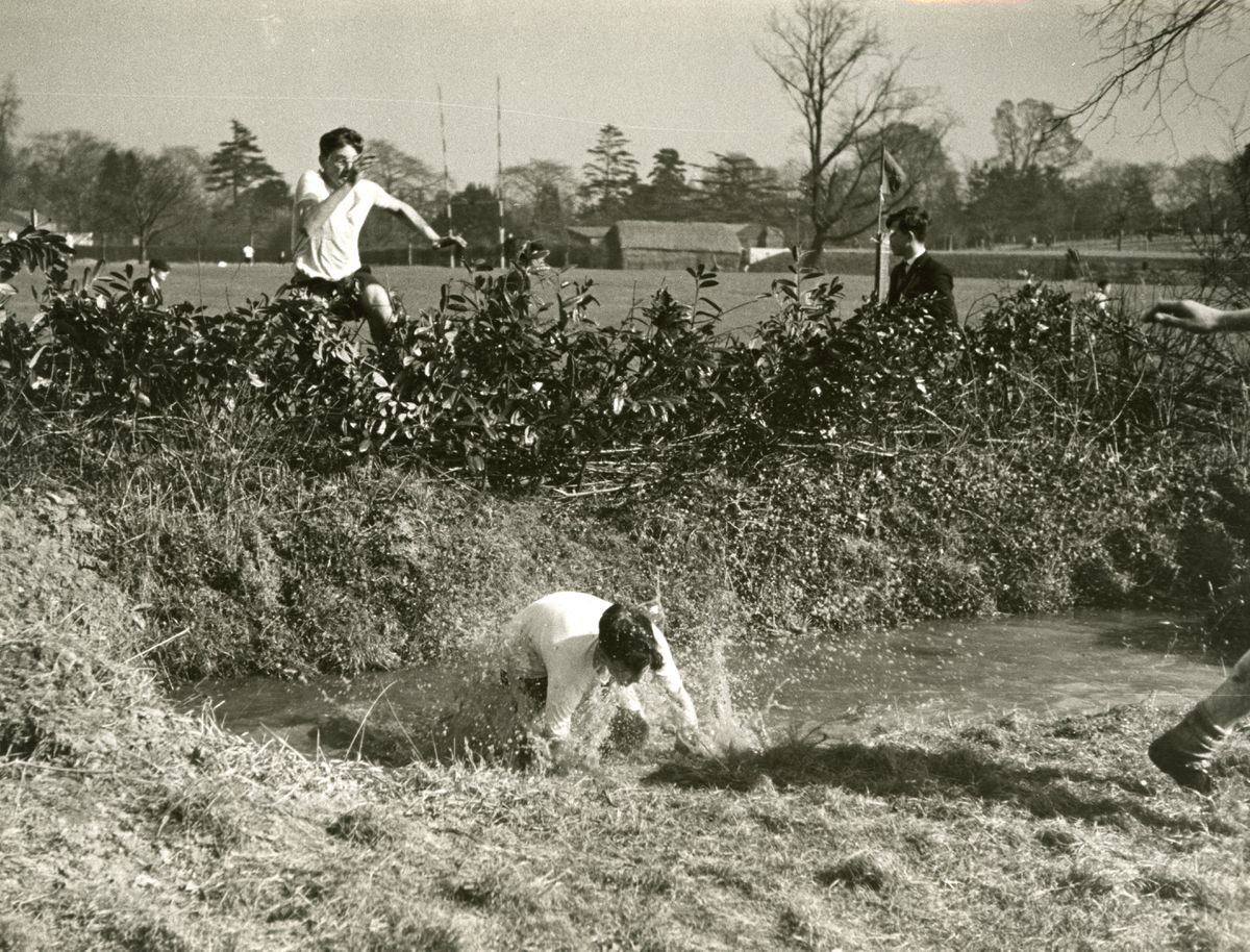 A steeplechase water jump in the 1940s