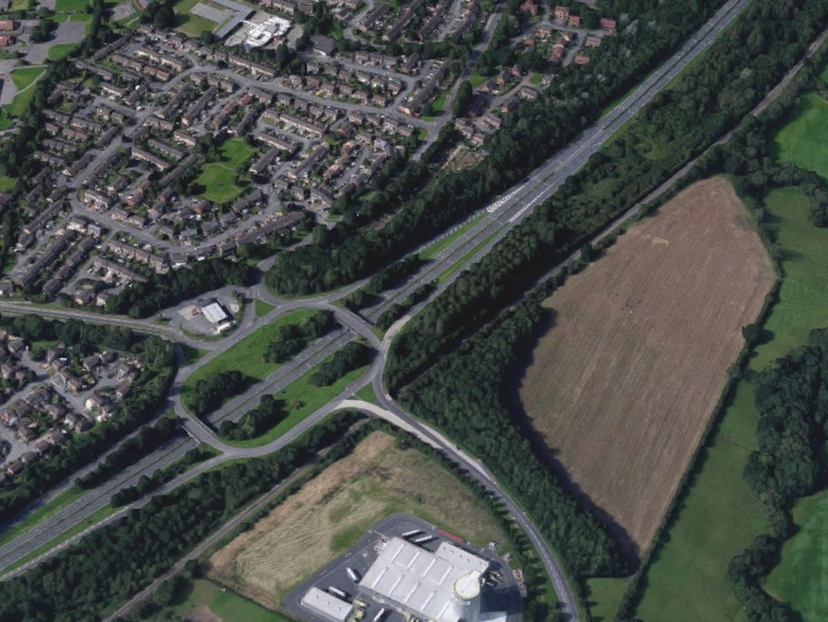 An aerial view showing the A442 in Stirchley, Telford. Photo: Google