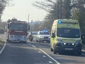 Emergency services at the scene on the A41. Photo: Market Drayton Fire Station