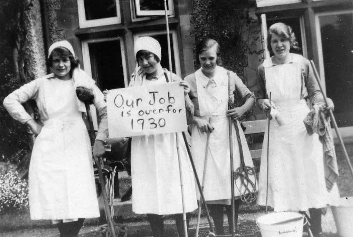 """""""Our job is over for 1930"""" reads the notice held up by these young ladies who were in domestic service at some grand Shropshire house – although we don't know exactly where. The photo was loaned to us some years ago by Mrs Vicky Jones of Wellington and came from her family photo archive. """"I think they are friends of my husband's mother Elsie Jones, nee Holding, late of Criftins, Ellesmere, who was a cook at some of the great houses in Shropshire,"""" she told us."""