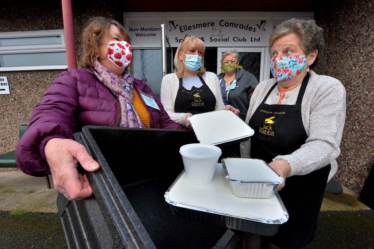 Dishing up and delivering Sunday Lunches from the Comrades Club, Ellesmere are, from left Jan Oliver (club president), Annette Speakes (cook), Sarah Cooper (committee member) and Margaret Sumner (cook)