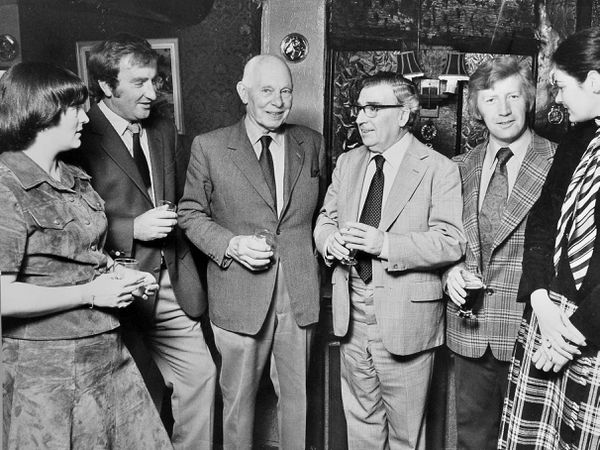 Tony Shryane talks to members of the show committee before recording their meeting. From left: Mrs Sue Embrey, show secretary; Tudor Bebb, chairman; Lord Bridgeman, president; Tony Shryane; Martin Dyas, treasurer; Miss Joanna Skinner, producer's assistant.