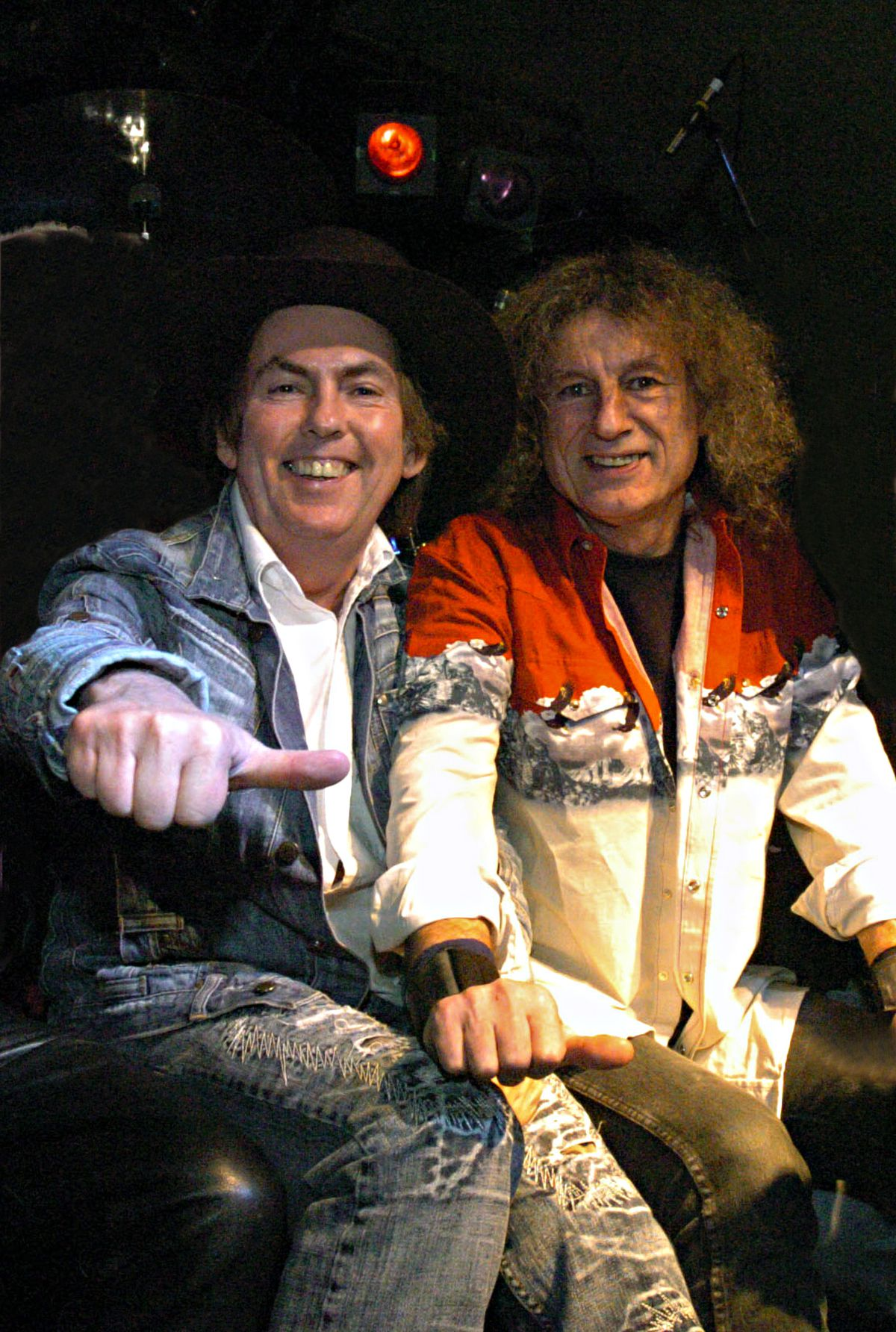Dave Hill and Don Powell get ready to take to the stage for last night's 40th anniversary gig at the Robin 2 Club, in Bilston,