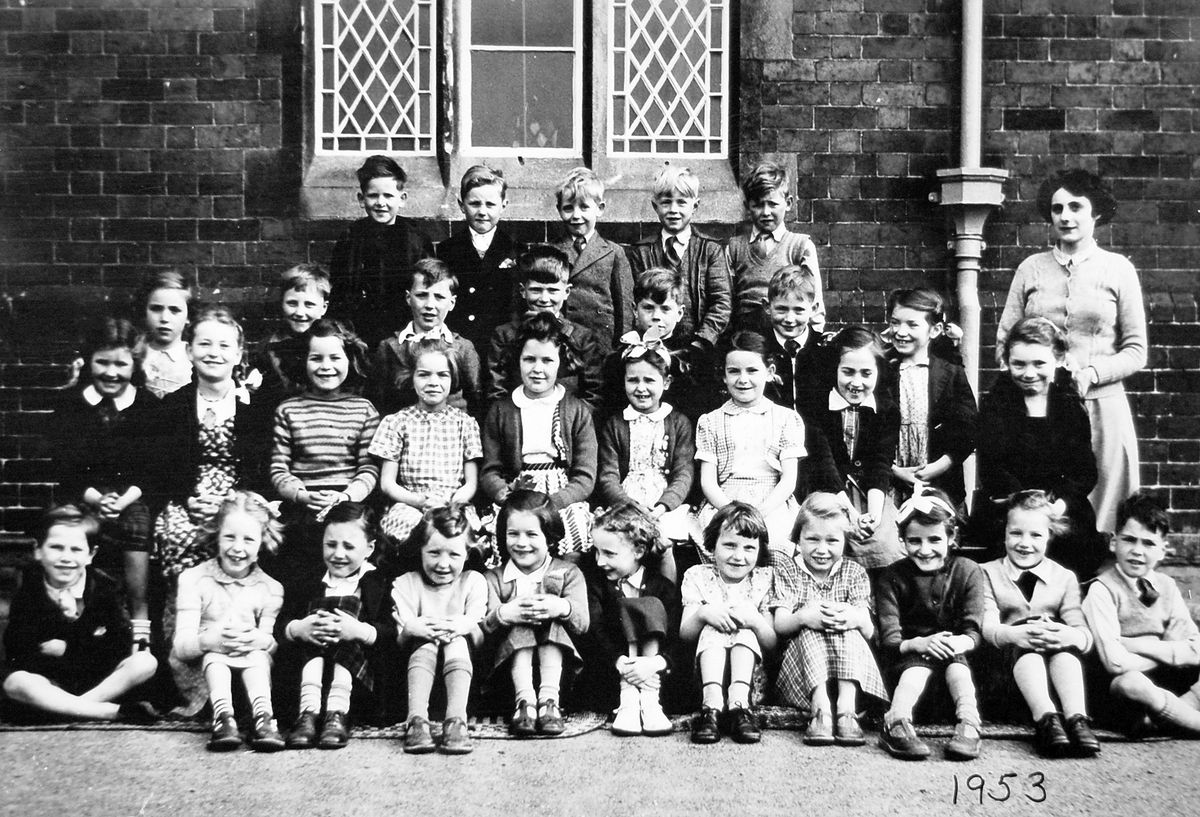 Children at the school in 1953. On the right is Mrs Joan Bowdler, who started her teaching career at the school. She was originally from the Manchester area and came to Ironbridge on her marriage.
