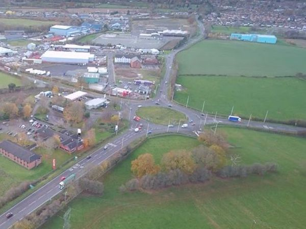 An aerial view of Mile End Roundabout. A new roundabout, road and bridge are planned as part of a major new development.