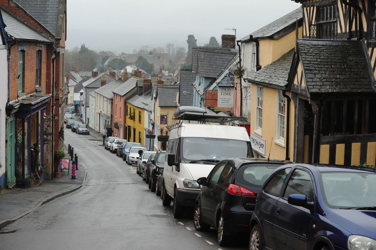 Cars parked at High Street, Bishop's Castle