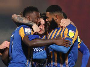 Aaron Pierre of Shrewsbury Town celebrates after scoring a goal to make it 0-1. (AMA)