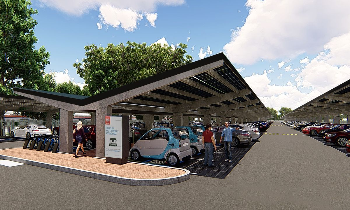Parveen Begum's car ports are also suitable for use at retail parks and supermarkets