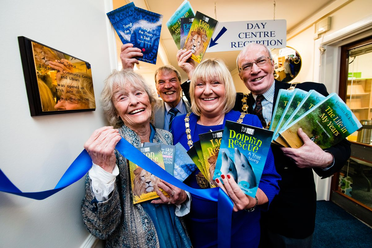From left; Virginia McKenna, Paul Goulbourne, chair of the Friends of the library, Ann Hartley, chair of Shropshire Council and Ellesmere mayor Ryan Hartley