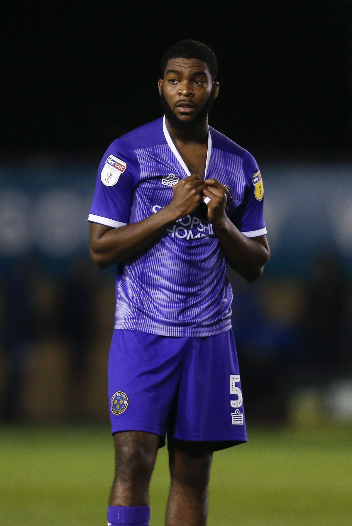 Ro-Shaun Williams of Shrewsbury Town reacts at full time. Photo: AMA