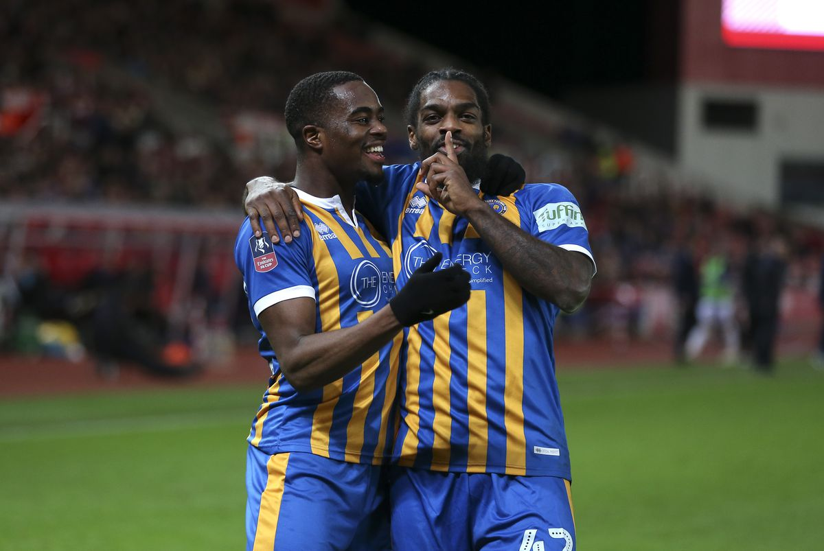 Fejiri Okenabirhie of Shrewsbury Town celebrates after scoring a goal to make it 2-2 with Anthony Grant of Shrewsbury Town. (AMA)