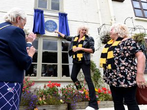 Wolves and England legend Billy Wright's daughters Vicky and Babette at the unveiling of a plaque on his former home in Ironbridge.
