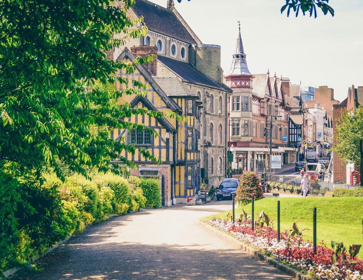 Timber-framed buildings near Shrewsbury Castle