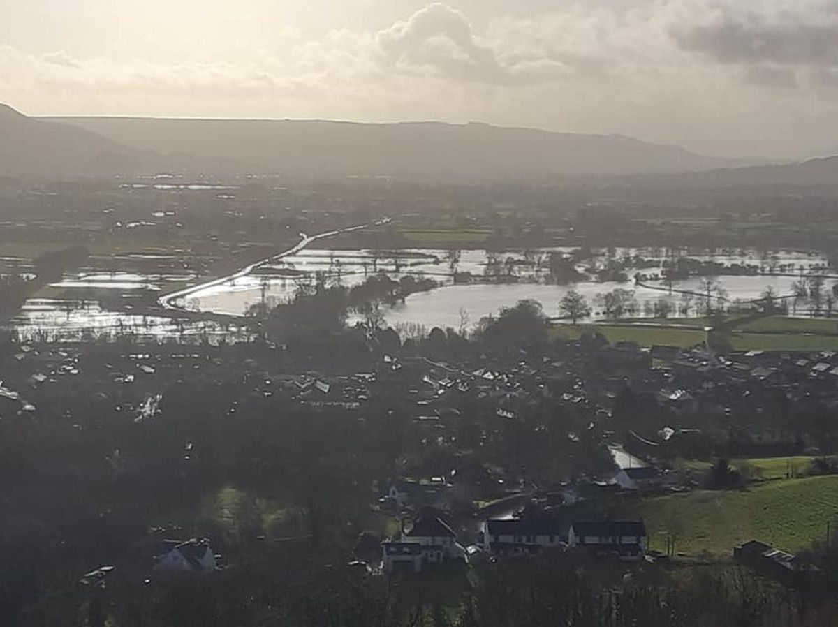 The flooded fields at Llanymynech and Pant. Photo: Curly Rogers