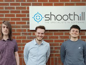 Shoothill's apprentices - Software developer Gabriel Brown, digital marketing executive Ryan Lloyd and service delivery coordinatorJosh Welch