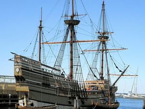A replica of the Mayflower