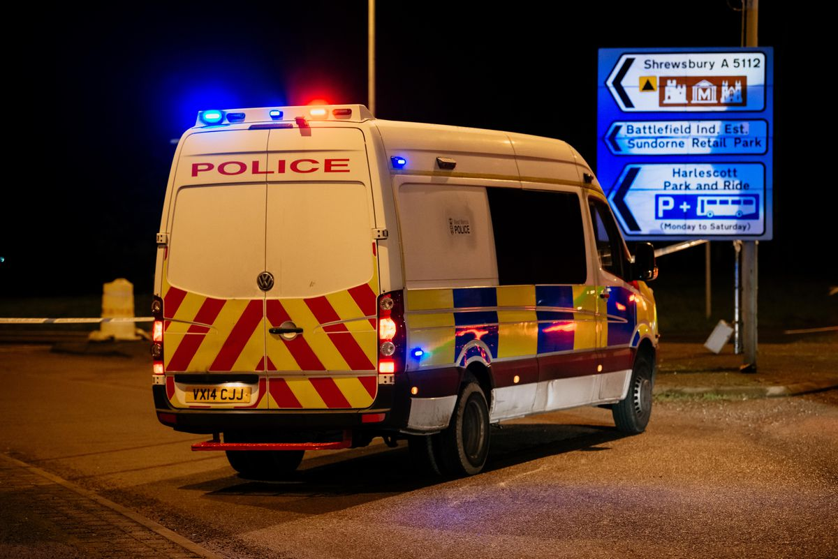 Battlefield Road was closed off by police this evening near Tesco Extra