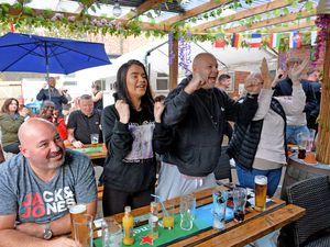 England fans go wild at The Old Bush Inn, Albrighton