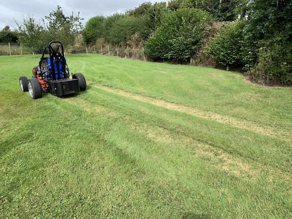The world's fastest lawnmower doing what it does best