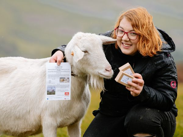 SOUTH COPYRIGHT SHROPSHIRE STAR JAMIE RICKETTS 20/11/2020 - Farmer Jade Rhodes has been bombarded with order for her goat milk soap after appearing on Countryfile. She started making it to help with her psoriasis. Pictured here with one of her goats, Gwen..