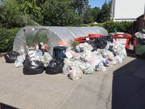 Piles of litter collected at Shrewsbrury's Quarry park earlier in the year