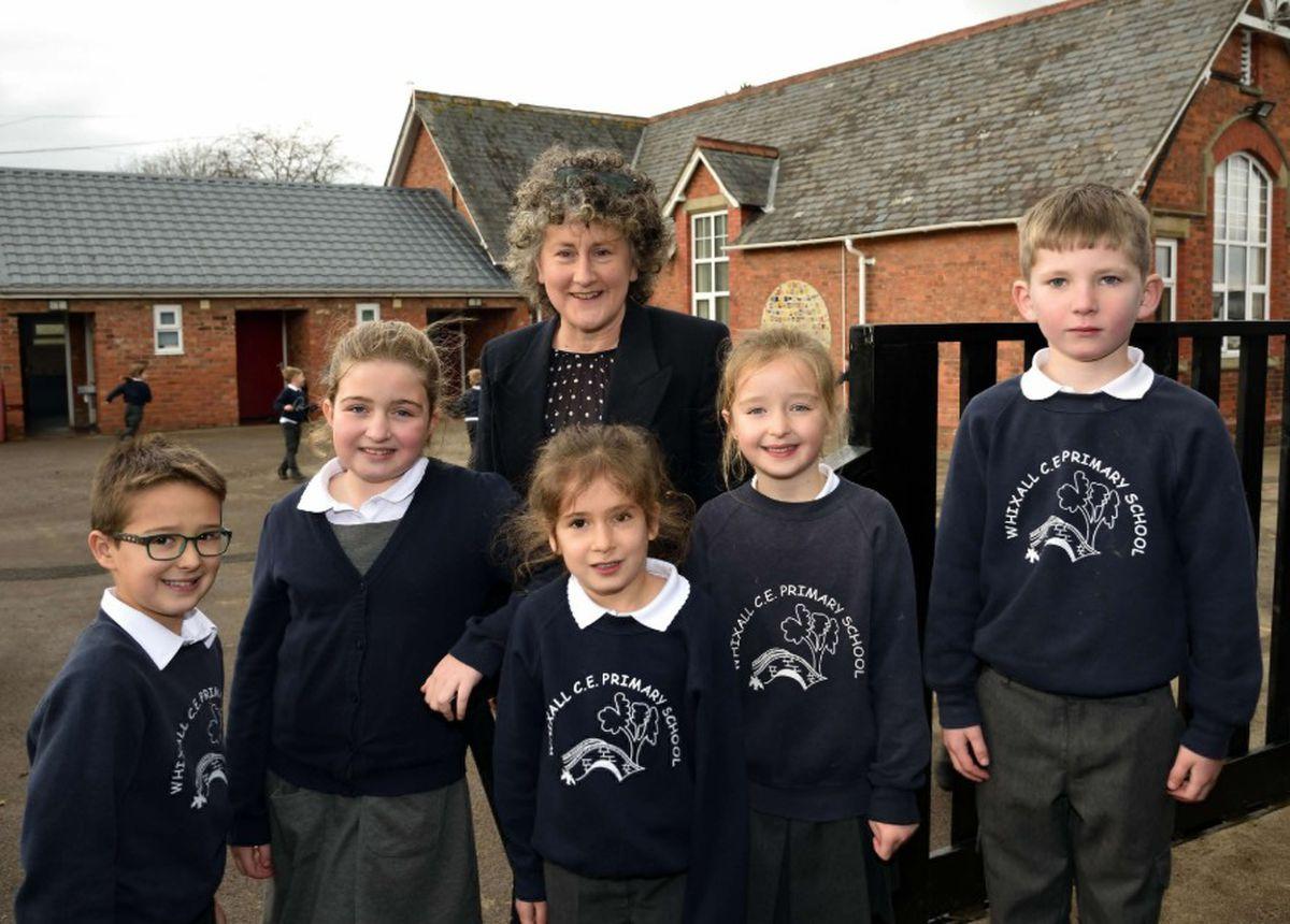 Headteacher Nicola Brayford pictured with children at Whixall Primary School