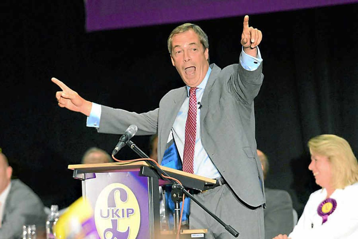 Ukip leader Nigel Farage at the Telford International Centre last night. Pictures: Peter Flemmich