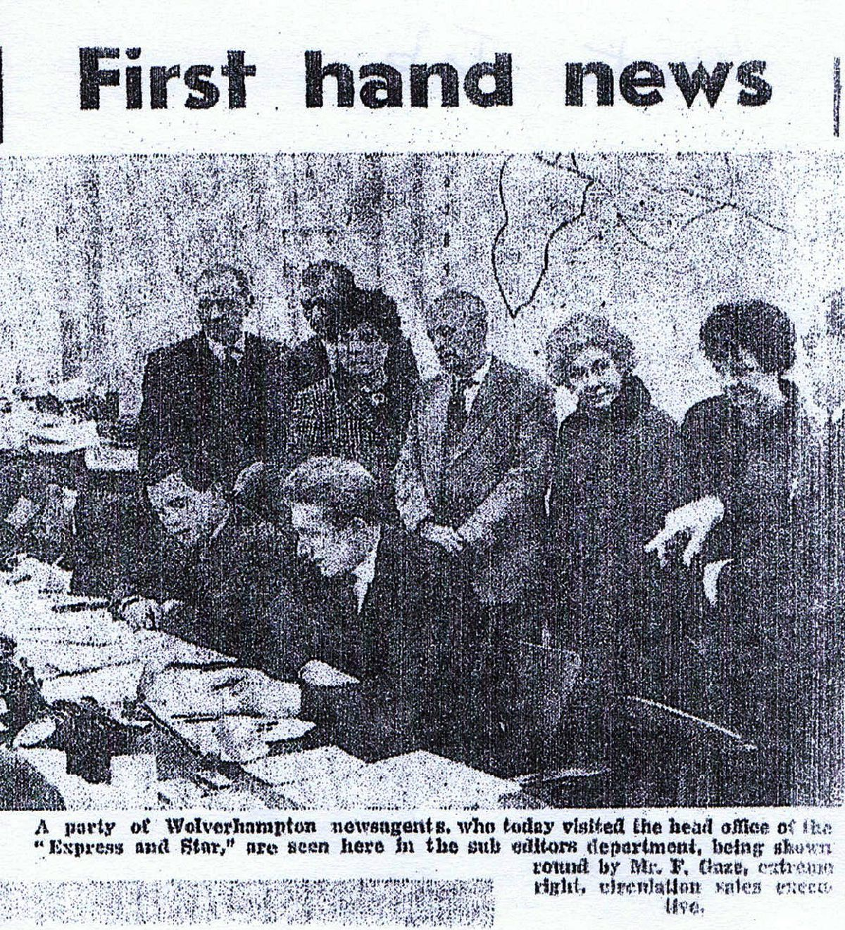 Roy Roberts, seated centre, pictured while working as a sub-editor at the Express & Star in 1966