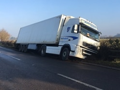 Hours of A442 disruption as HGV gets stranded in hedge