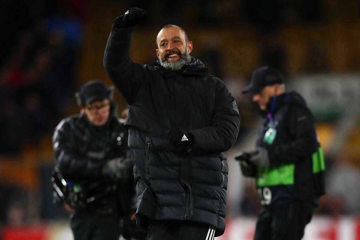 Nuno Espirito Santo the head coach / manager of Wolverhampton Wanderers celebrates at full time. (AMA)