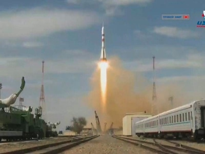 US-Russian crew blast off for space station after strict quarantine
