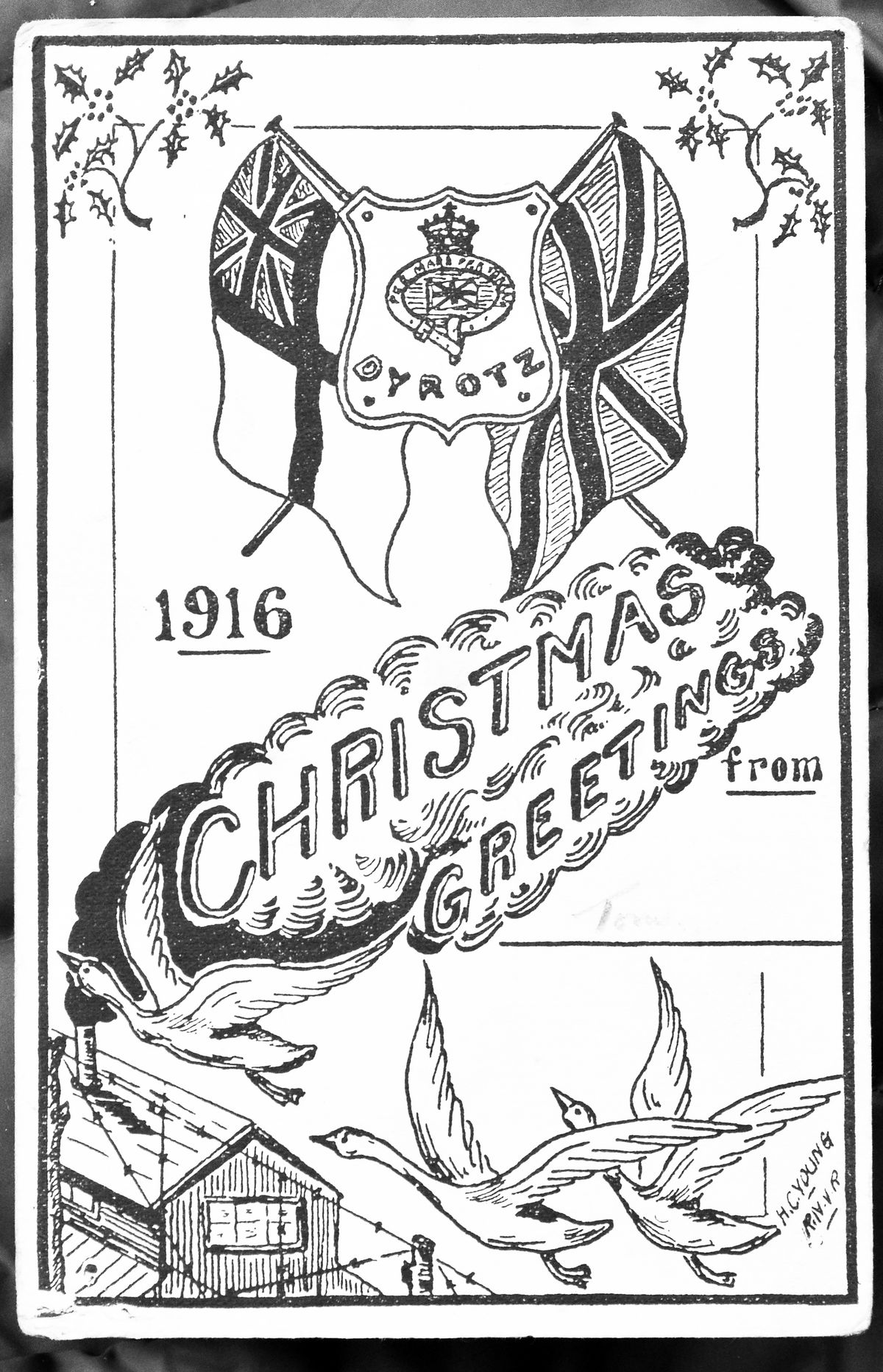 A Christmas card sent by Tom from Dyrotz prisoner-of-war camp in 1916.