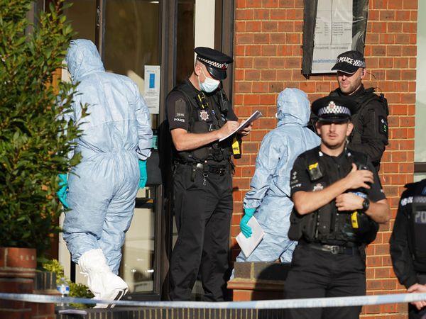 Police at the scene of Sir David Amess's killing