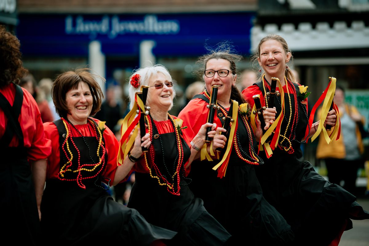 A highlight of the day's celebrations is the elaborate performances by the morris groups the Ironmen and the Severn Gilders