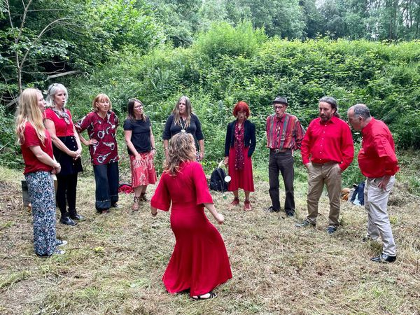 Singing as part of the Offa's Dyke celebrations