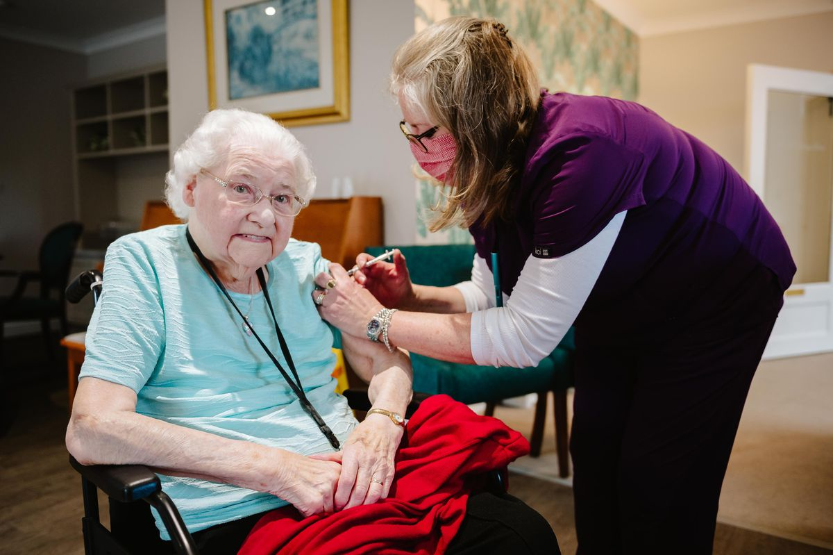Resident Joyce Mansfield with Dr Charlotte Hart (Clinical Care Director for Shrewsbury Primary Care Group)