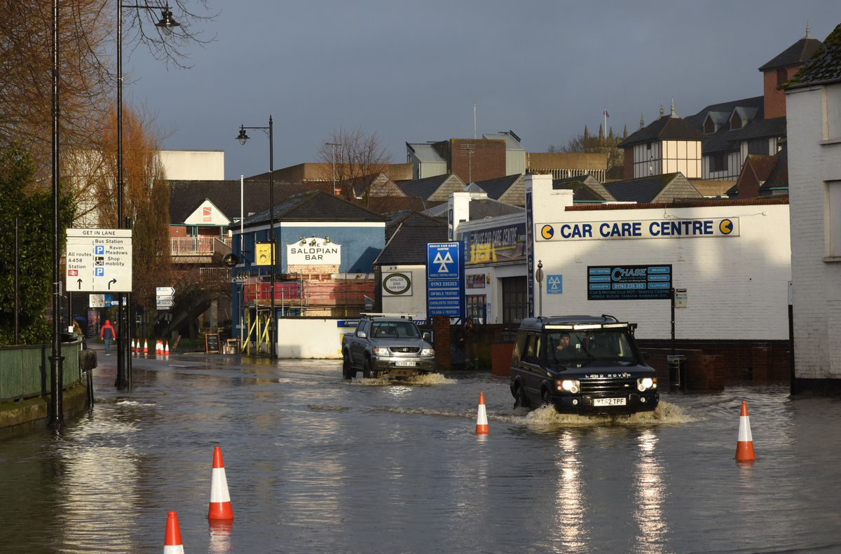 Flooding in Smithfield Road, Shrewsbury, on Monday afternoon. Photo: Russell Davies
