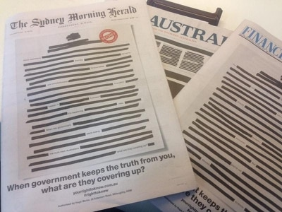 Australian newspapers campaign against government secrecy