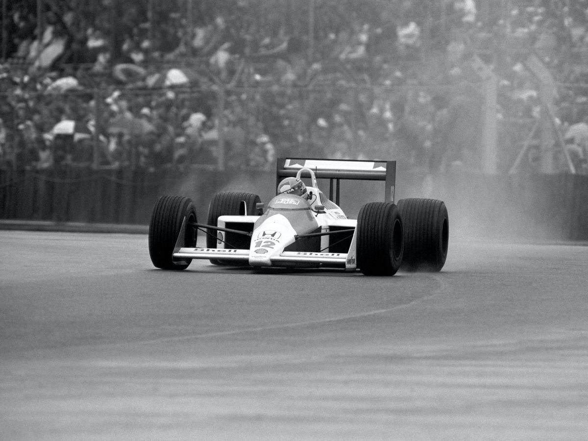 Brazilian Ayrton Senna on his way to victory at a rain-lashed British Grand Prix at Silverstone in 1988