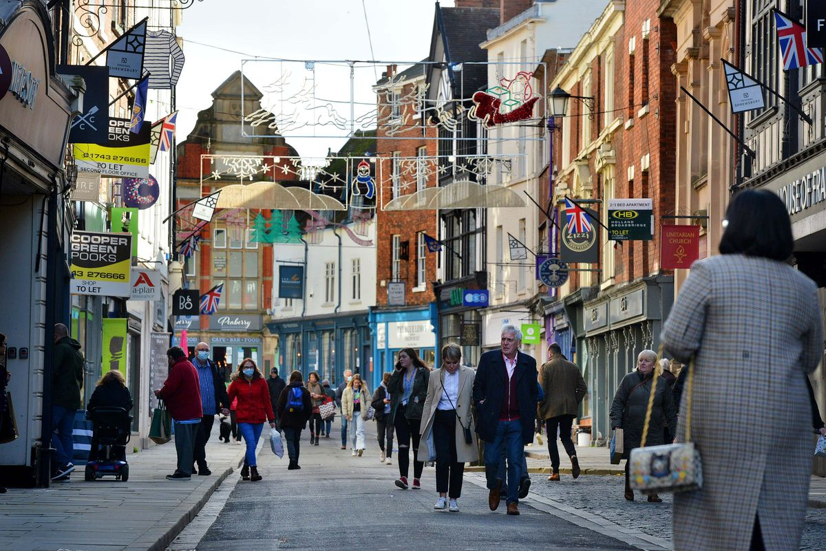 Shrewsbury's High Street which is one of several roads affected by social distancing measures