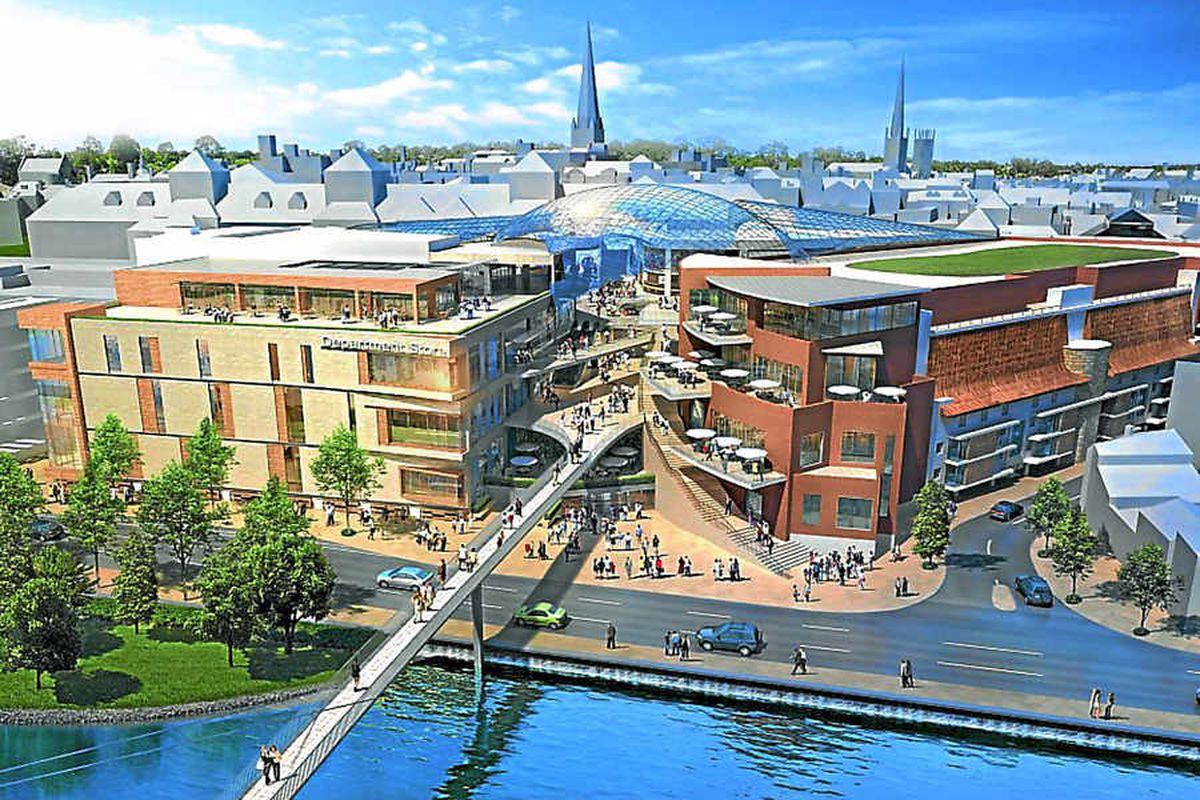 An artist's impression of the planned £150m New Riverside development in Shrewsbury