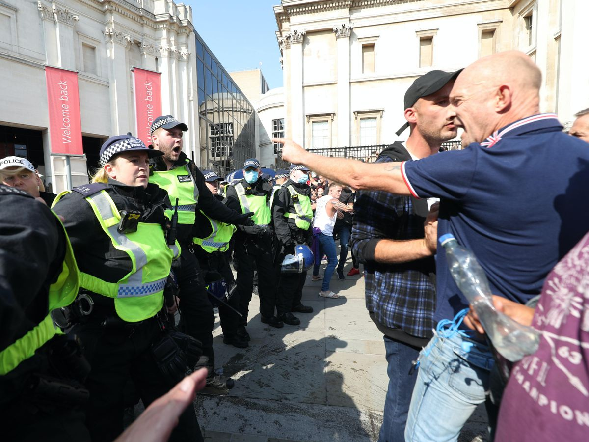 Police clashed with protesters in London's Trafalgar Square