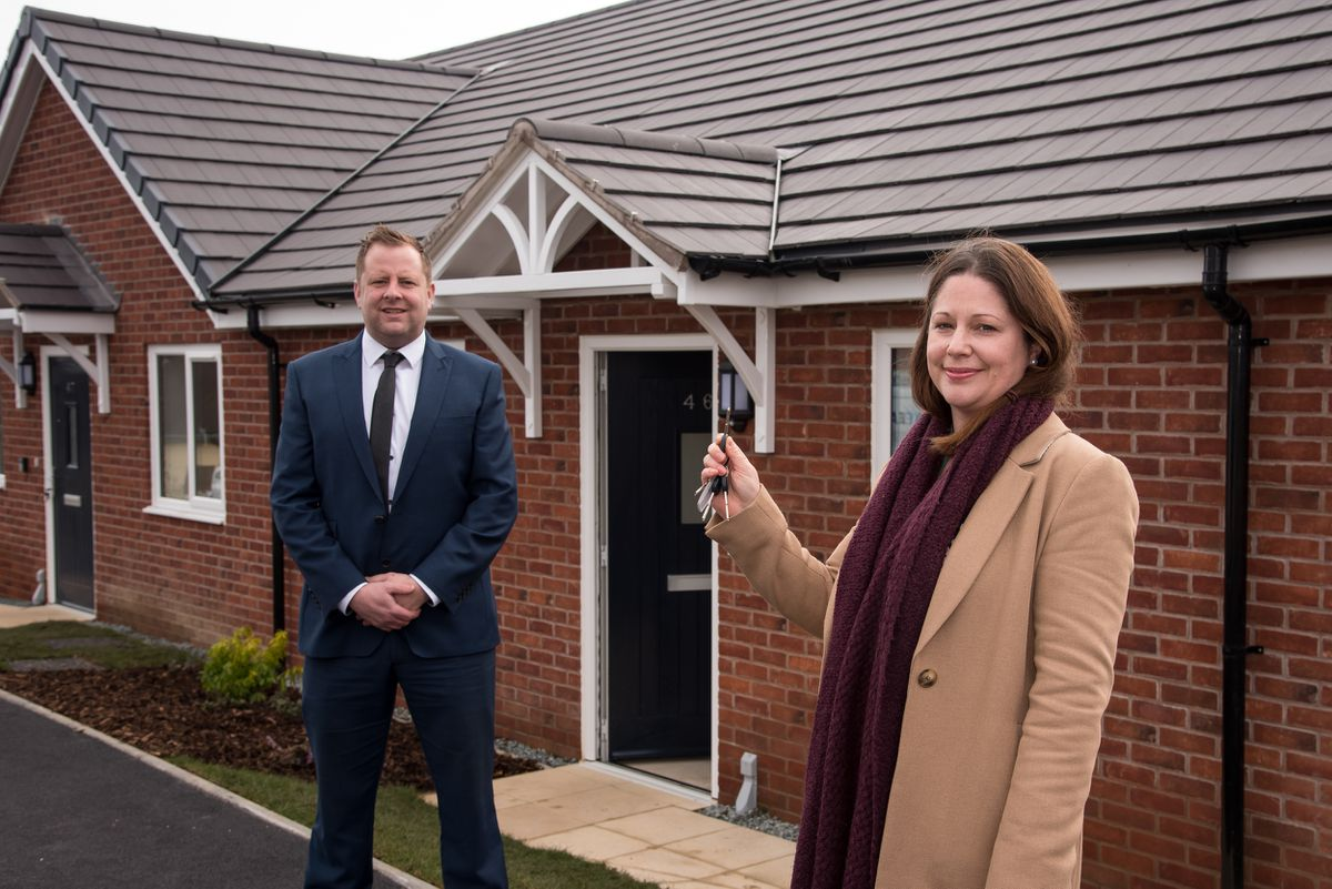 Pave Aways construction director Jamie Evans and Victoria Tomlinson, director of property at Connexus, pictured at the new homes in Craven Arms