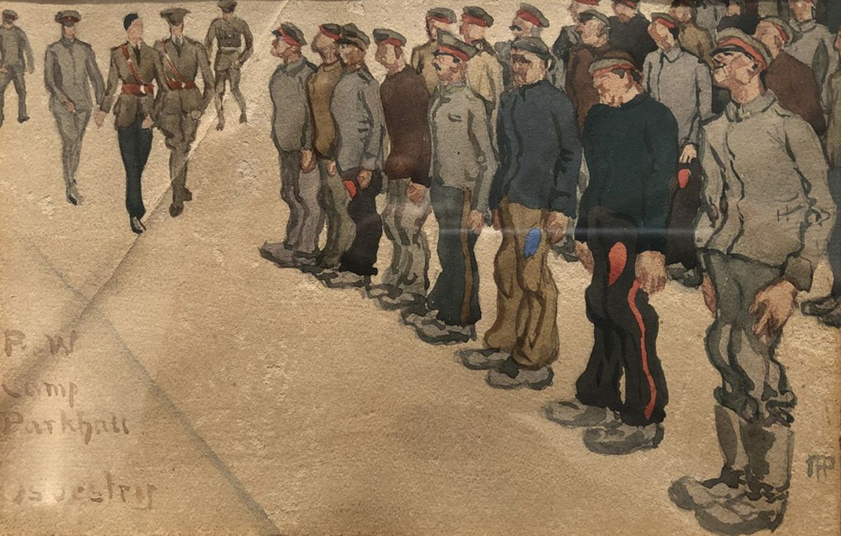 The watercolour painting of German prisoners held at Park Hall camp, near Oswestry.