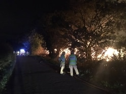 Straw fire which burned through the night near Shawbury was arson - with video