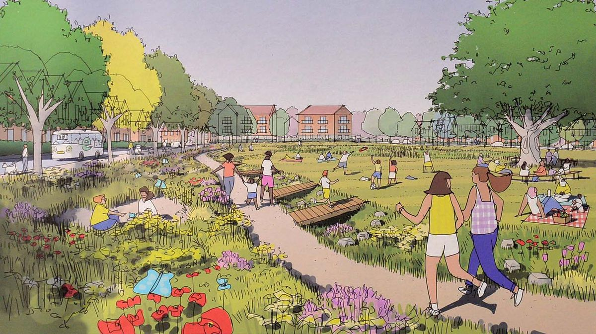 Plans on display for the proposed development. Central Park looking south.