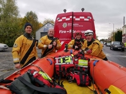 Shropshire fire service boat team in Yorkshire floods