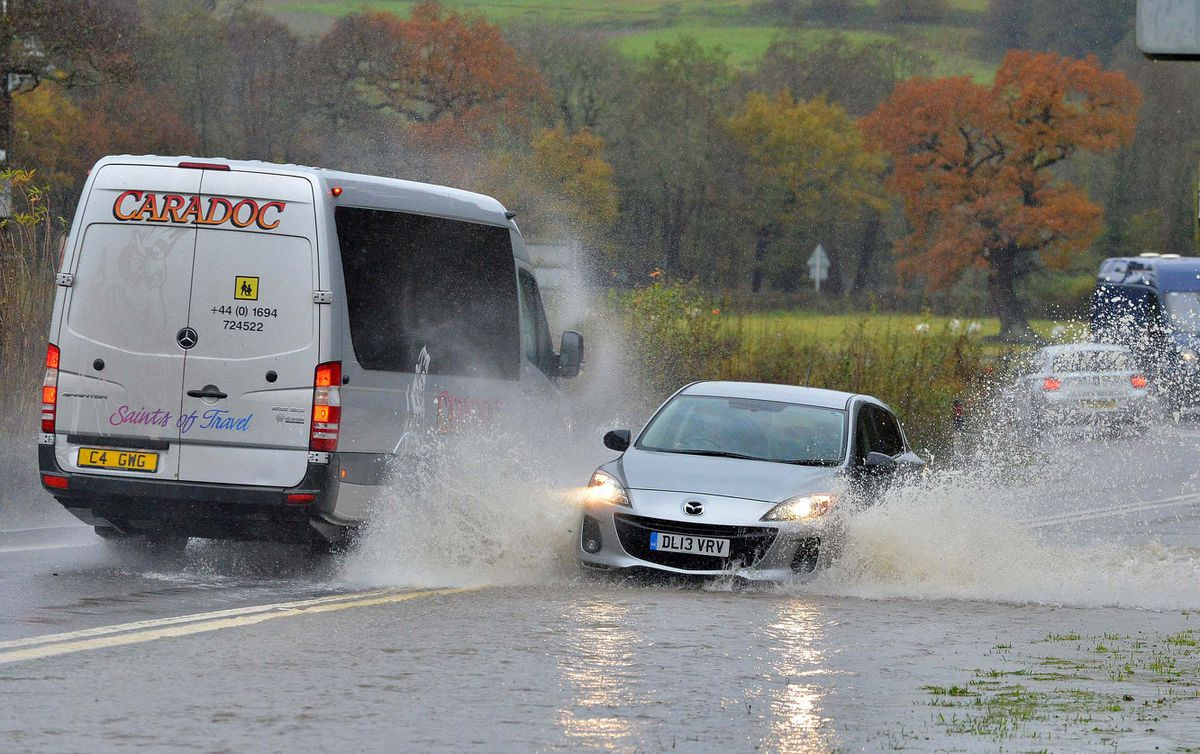 Flooding along the A49 near the Marshbrook turn between Shrewsbury and Craven Arms